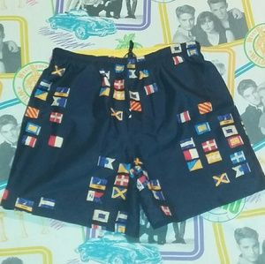 90s Nautica Flag Logo Board Shorts Swim Trunks
